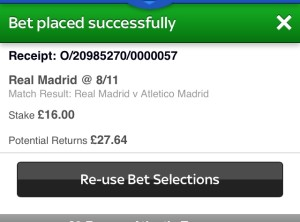Real Madrid lose to Atletico in the Madrid Derby; the Rolling Accumulator